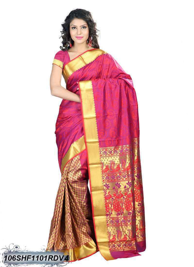Pink & Golden Kanchivaram Silk Sarees