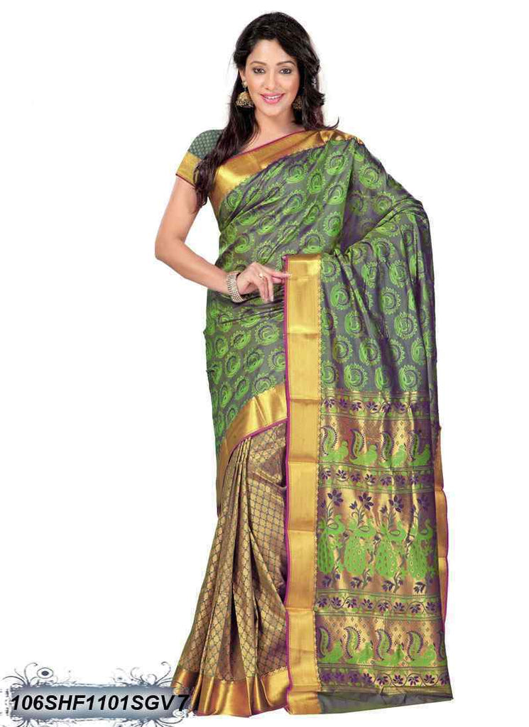 Green ,Golden Kanchivaram Silk Sarees
