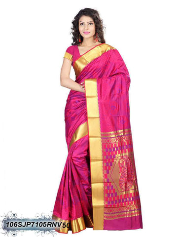 Red,Pink,Golden Kanchivaram Silk Sarees