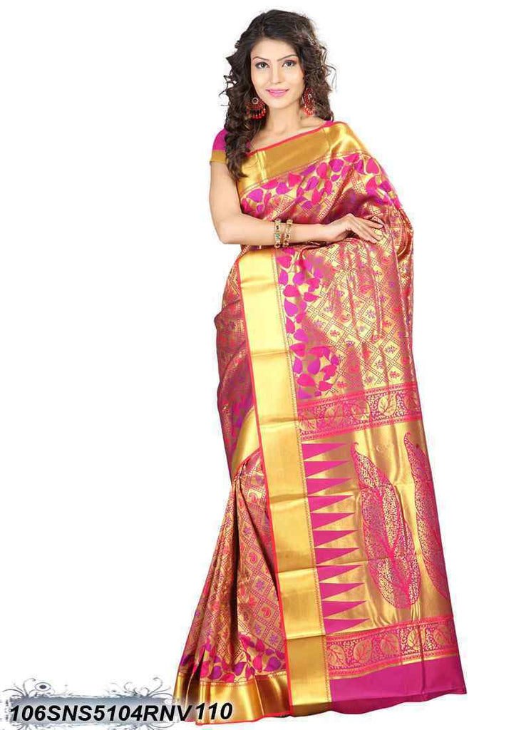 Red, Pink ,Golden Kanchivaram Silk Sarees