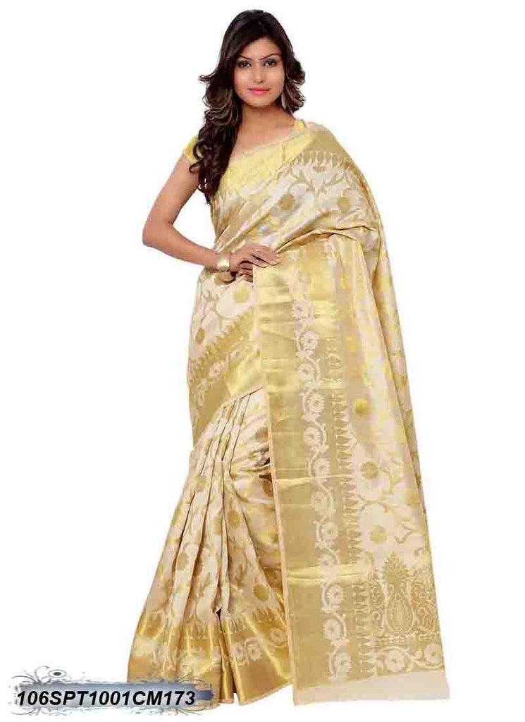 Beige and Golden Design Kanchivaram Silk Sarees - Dailybuyys