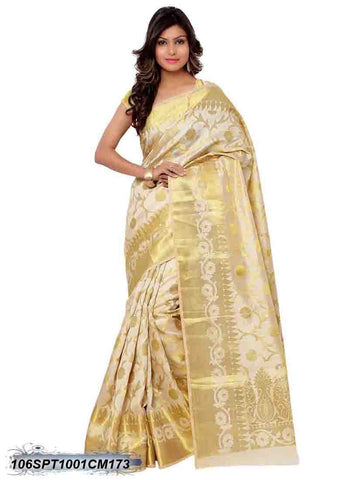 Beige & Golden Design Kanchivaram Silk Sarees