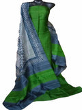Handpicked Green & Grey Murshidabad Silk Top & Dupatta