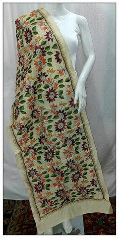 Handpicked Off White & Green, Red Tussar Kantha Stitch Stoles