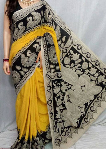 Yellow, Black Cotton Print Kalamkari Sarees