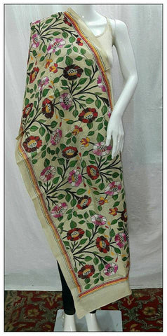 Handpicked Off White & Green,Magenta Tussar Kantha Stitch Stoles