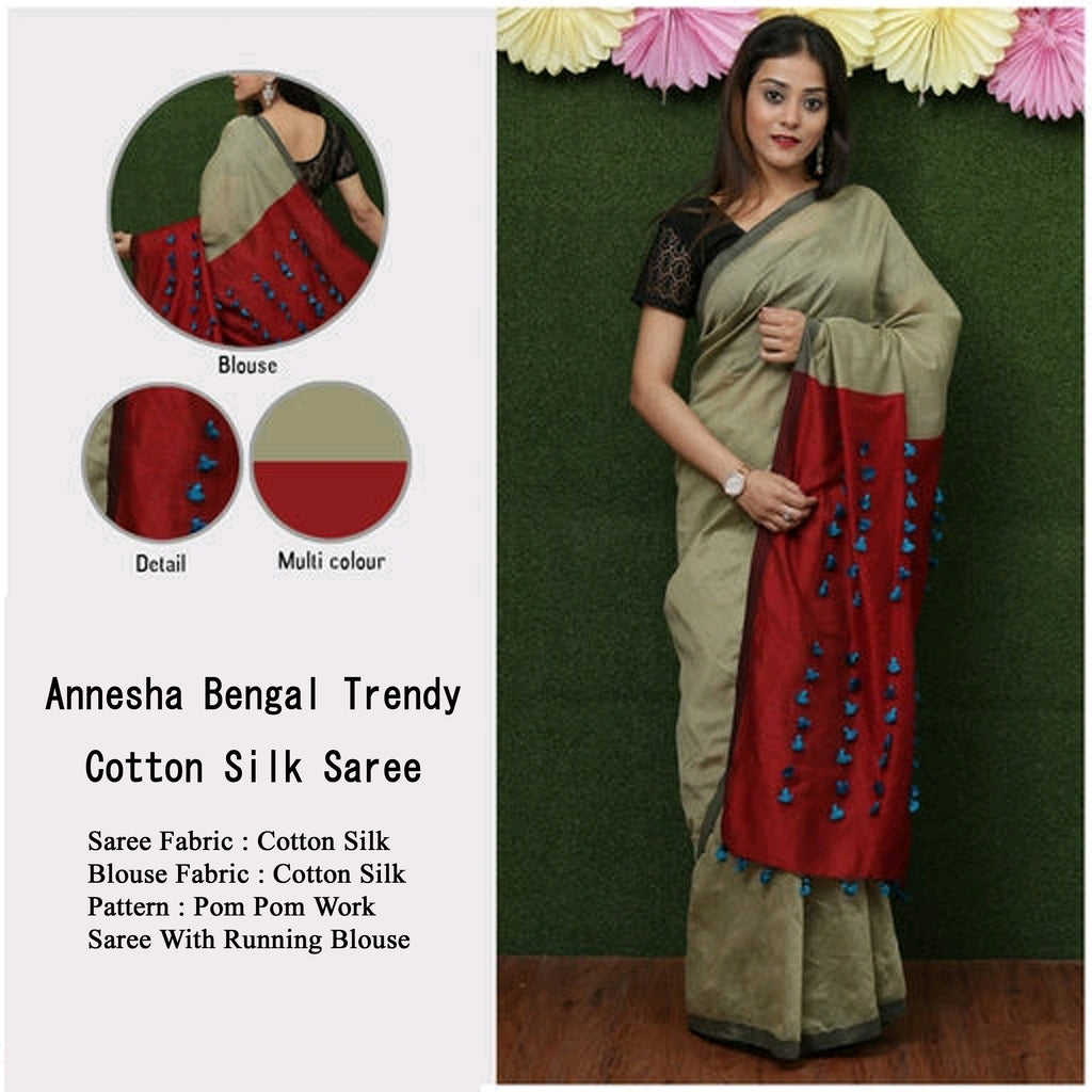 Beige Red Handloom Cotton Silk Sarees