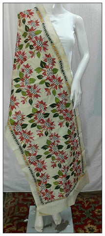 Handpicked Off White & Red 1 Tussar Kantha Stitch Stoles