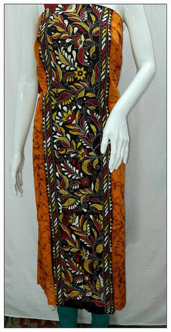 Handpicked Yellow & Multi Batik kantha Stitch Kurtis