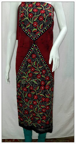 Handpicked Red & Black Batik kantha Stitch Kurtis