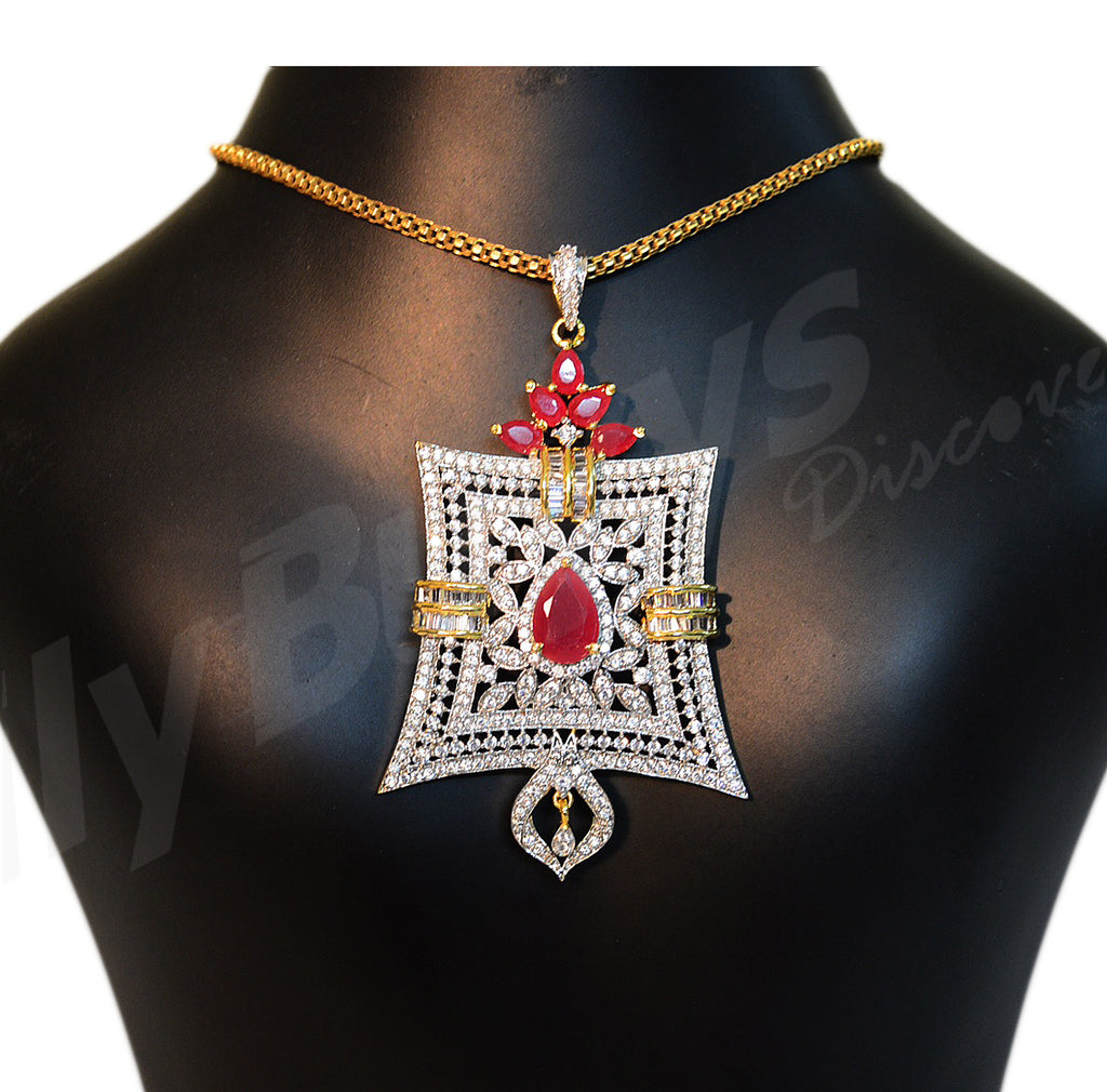Beautiful white and red stone designed Jewellery Sets - Dailybuyys