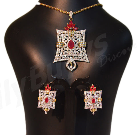 Beautiful white and red stone designed Jewellery Sets