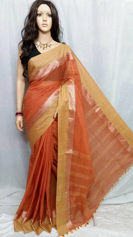 Beige & Orange Bengal Handloom Silk Sarees
