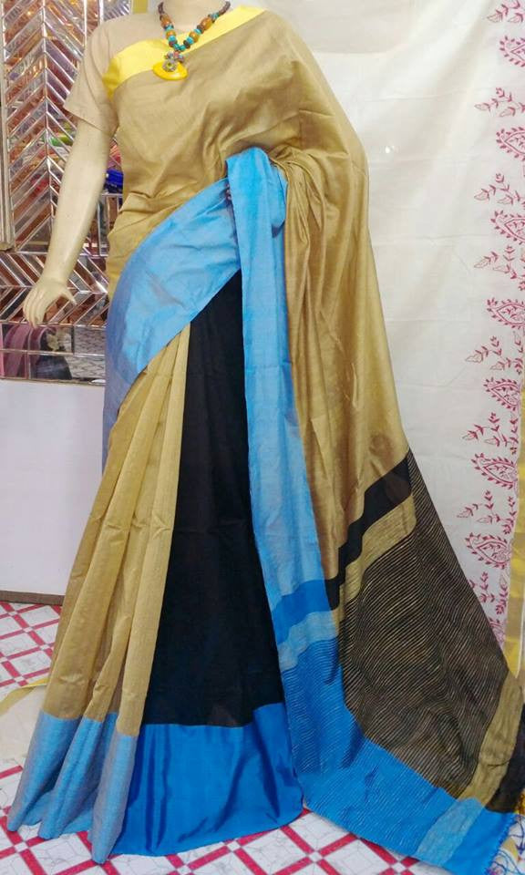 Beige & Blue,Black Mahapar Cotton Silk Sarees