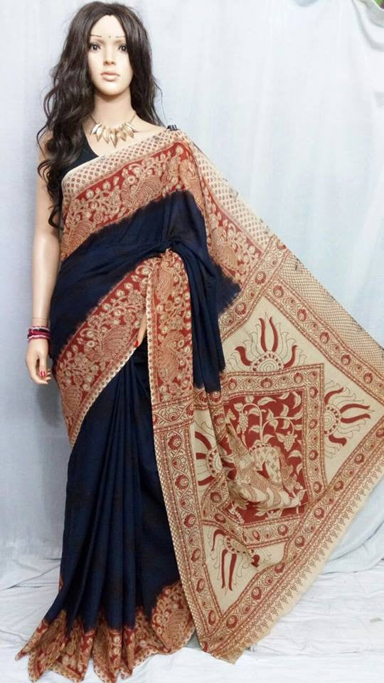 Blue Cotton Print Kalamkari Sarees