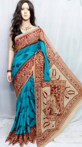 Blue,Red Cotton Print Kalamkari Sarees