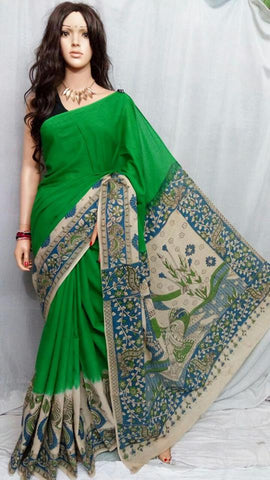 Green Cotton Print Kalamkari Sarees