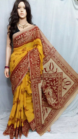 Yellow Cotton Print Kalamkari Sarees