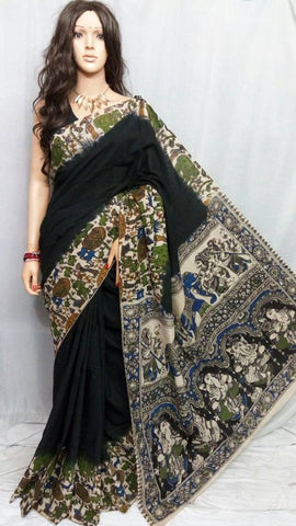 Black Cotton Print Kalamkari Sarees
