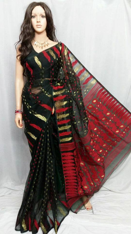 Black & Red Dhakai Jamdani Sarees