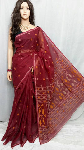 Red Cotton Jamdani Sarees