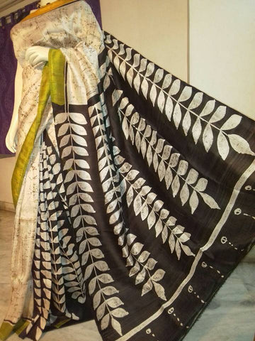 Beige & Black Silk Mark Certified Hand Paint/Block Print Pure Bishnupuri Silk Sarees