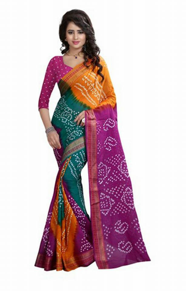 Multicoloured Bandhni Sarees