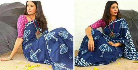 Blue Dabbu Printed Cotton Sarees