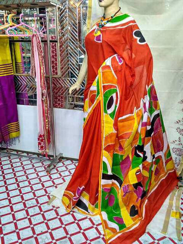 Orange Moklin Sarees
