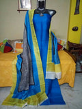 Handpicked  Blue Murshidabad Silk Top & Dupatta