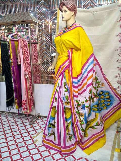 Yellow Moklin Sarees