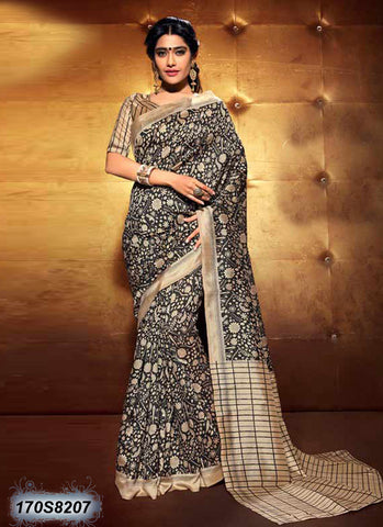 Beige Black Bhagalpuri Silk Sarees (Add to Cart Get 15% Extra Discount)
