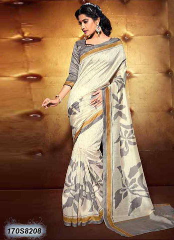 Off White Bhagalpuri Silk Sarees
