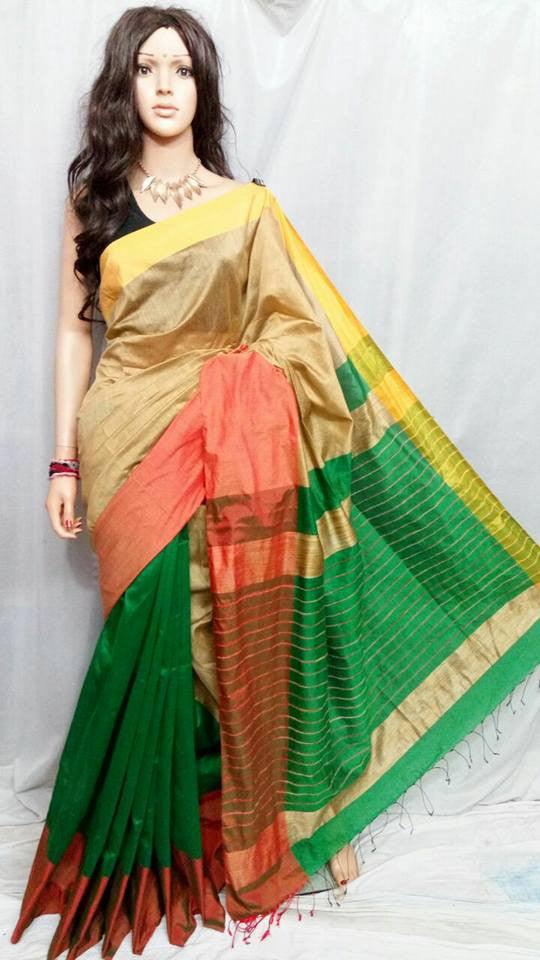 Beige & Green Mahapar Cotton Silk Sarees