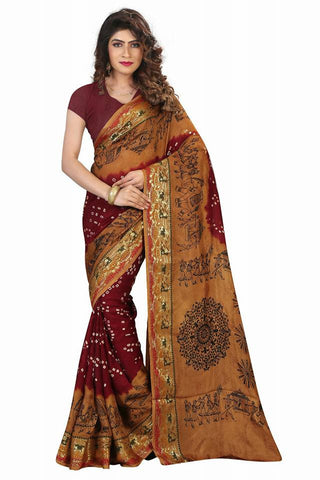 Marron & Beidge Bandhni Sarees