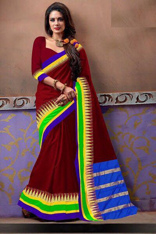 Brown Banarasi Silk Sarees