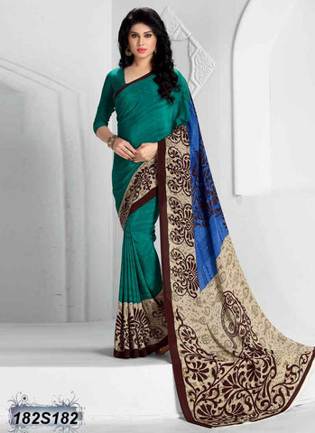 Beige & Brown Crepe Sarees