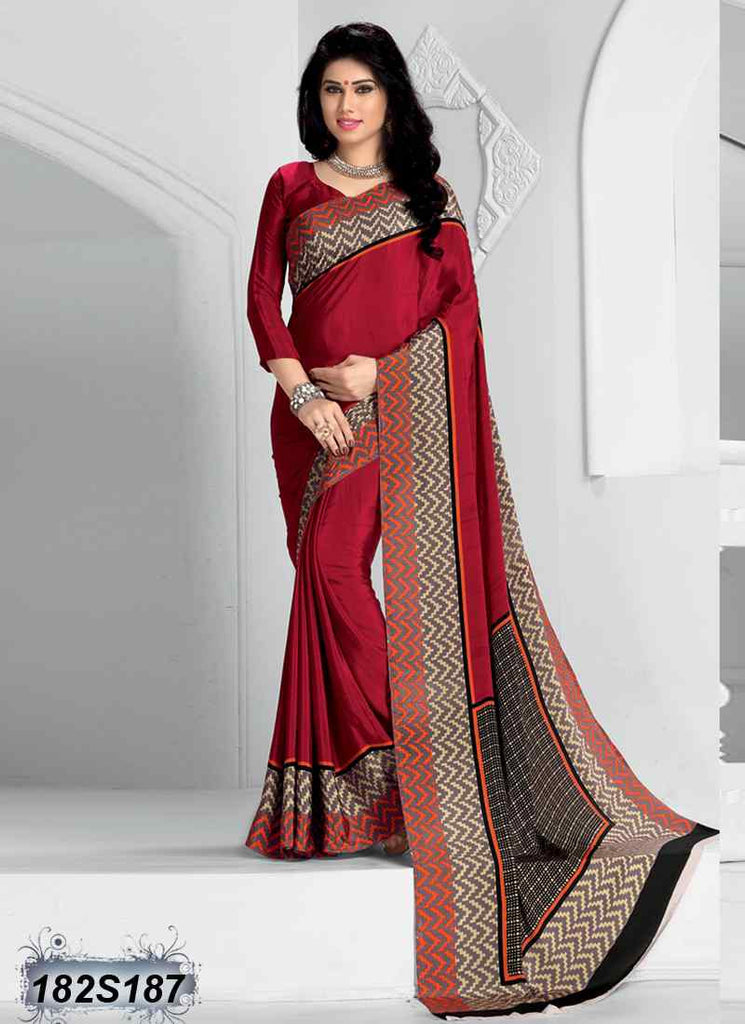 Beige & Red Crepe Sarees - Dailybuyys
