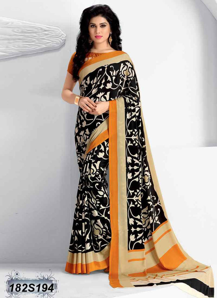 Beige & Black Crepe Sarees - Dailybuyys