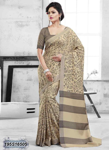 Beige Bhagalpuri Silk Sarees (Add to Cart Get 15% Extra Discount)