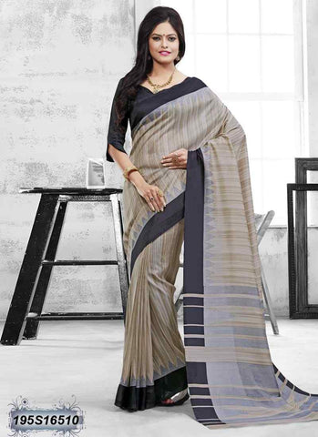 Beige & Black Bhagalpuri Silk Sarees (Add to Cart Get 15% Extra Discount)