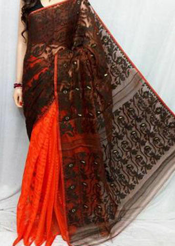 Red & Brown Handloom Jamdani Sarees