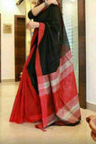 Black Red Handloom Ghicha Sarees