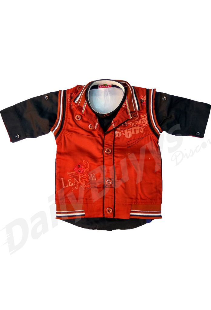 Deep Red Jacket Black Shirt And Black Pant Boys Clothing