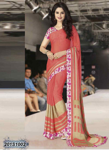 Beige & Peach Georgette Sarees (Add to Cart Get 20% Extra Discount)