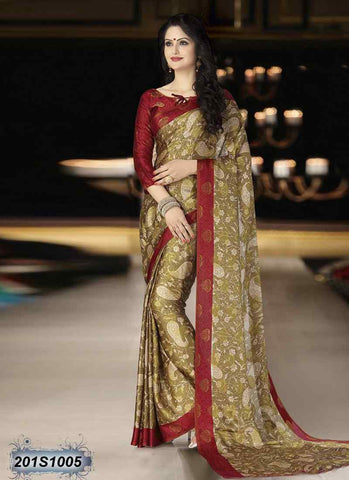 Beige & Maroon Georgette Sarees (Add to Cart Get 15% Extra Discount)