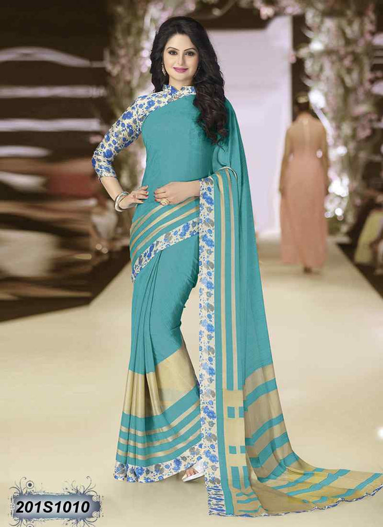 Beige & Sea Green Georgette Sarees - Dailybuyys