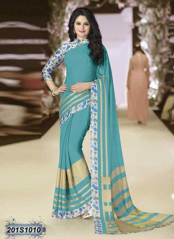 Beige & Sea Green Georgette Sarees (Add to Cart Get 20% Extra Discount)