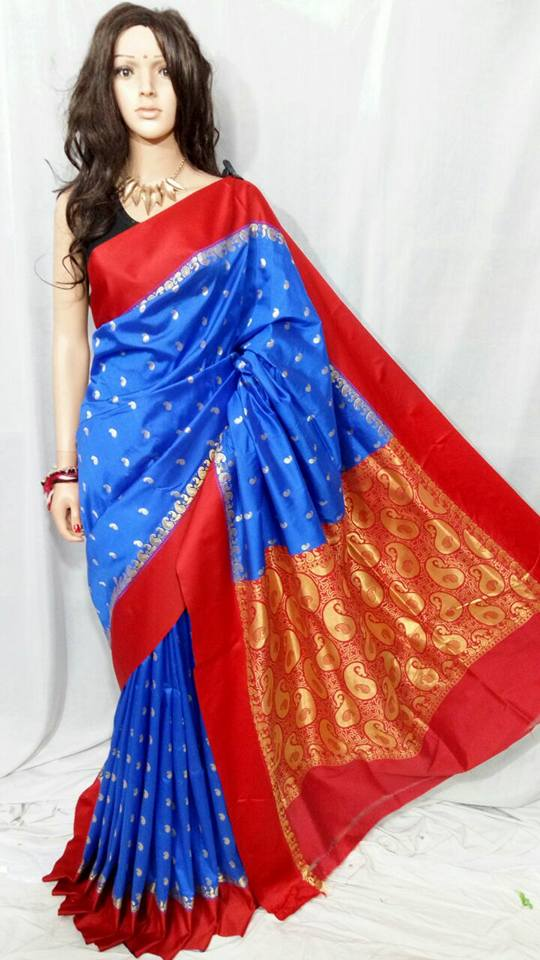 Blue Red Garad Silk Sarees