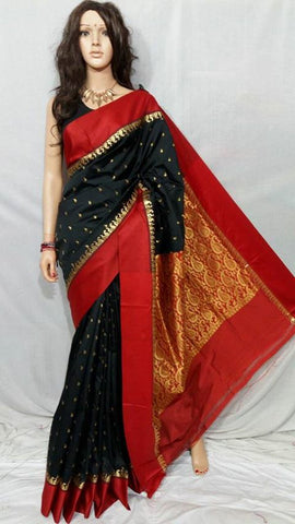 Black Red Garad Silk Sarees